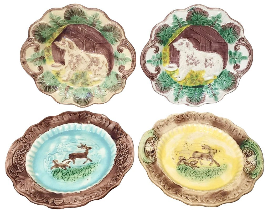 Group Of 4 Majoilca Plates With Dogs & Deer