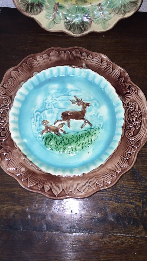 Group Of 4 Majoilca Plates With Dogs & Deer - 4