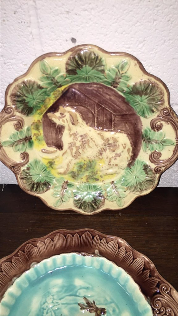 Group Of 4 Majoilca Plates With Dogs & Deer - 5
