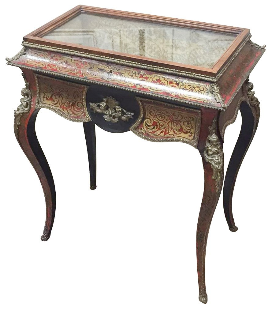 French Boulle Vitrine Table, 19th Century,