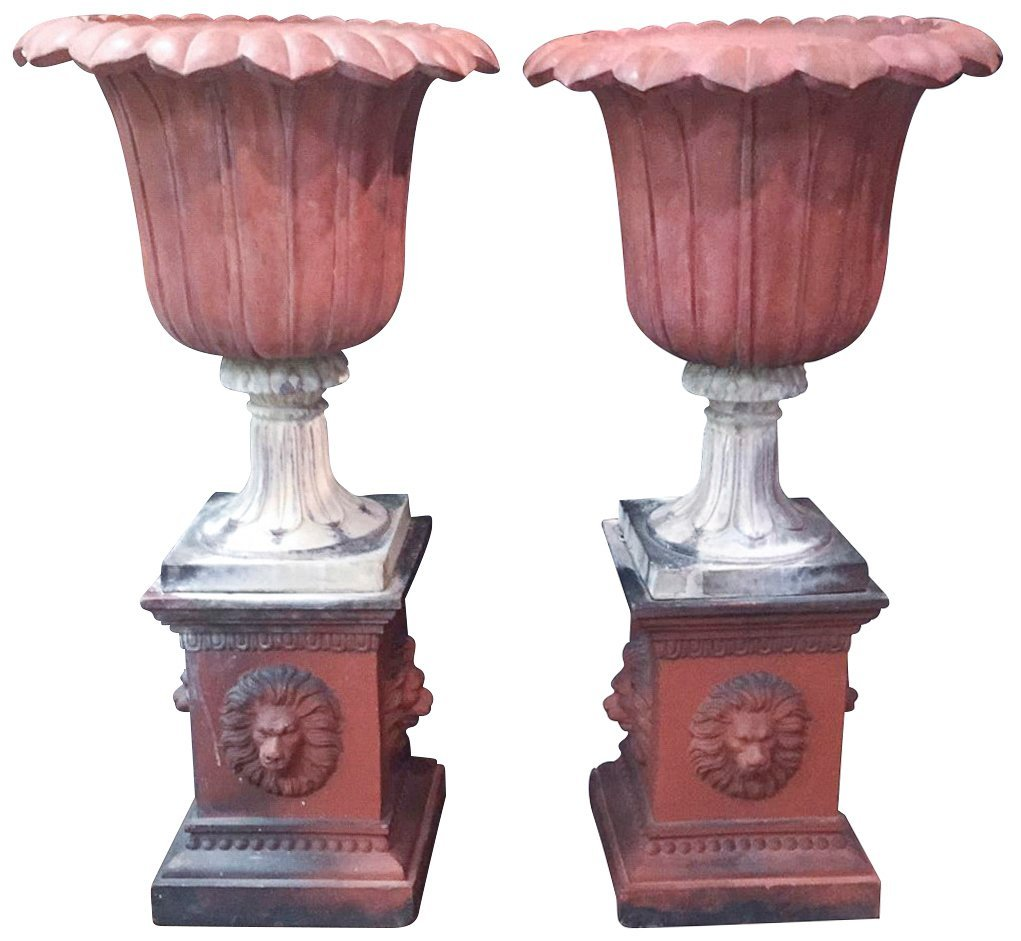 Pair Of 19th C. French Patinated Terra Cotta