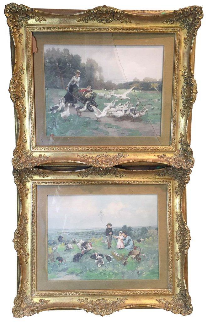 Great Pair Of Framed Watercolors, Women And