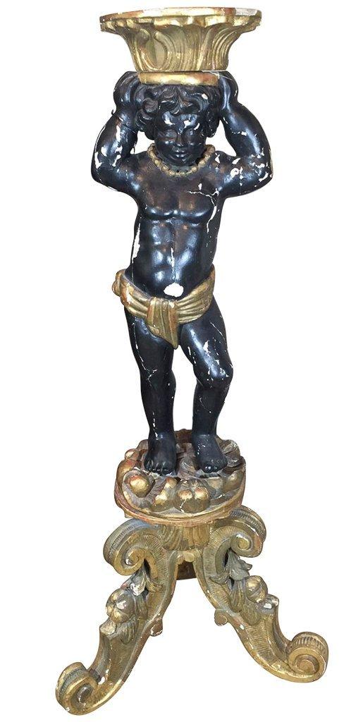 Italian Black Lacquered Blackamoor Figure