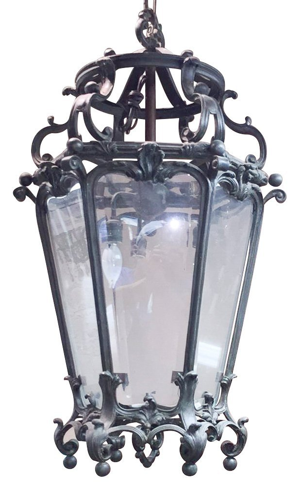 Early 20th C. Patinated Bronze Lantern