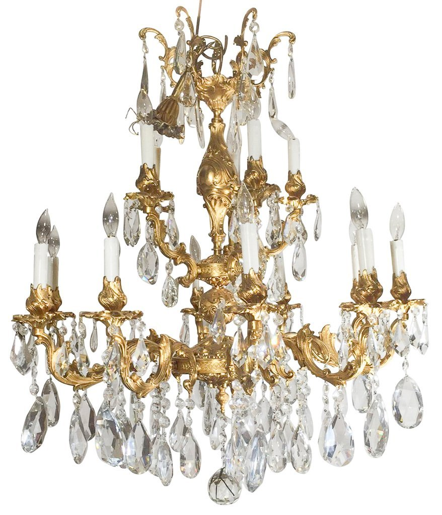 Large French Bronze Chandelier, Gold Washed