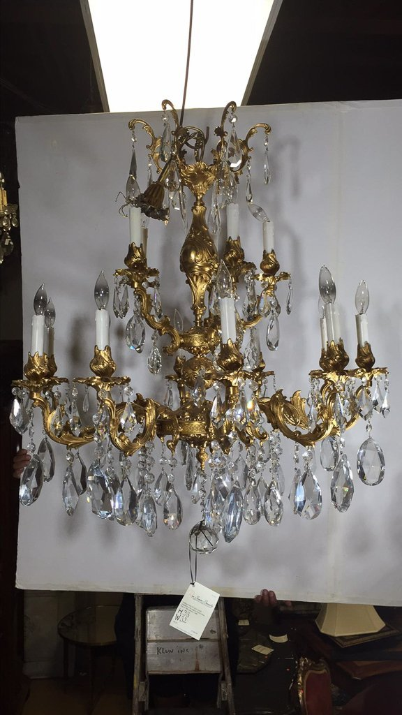 Large French Bronze Chandelier, Gold Washed - 2