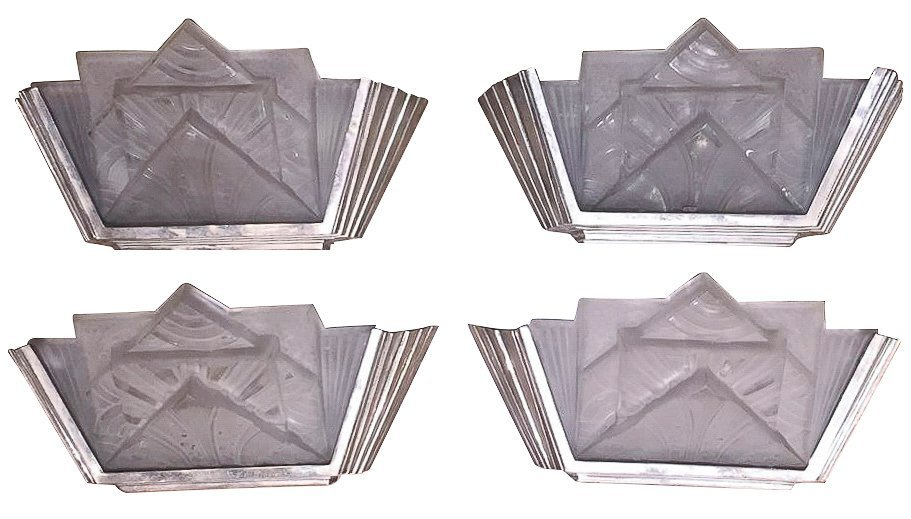 Set Of 4 French Art Deco Sconces