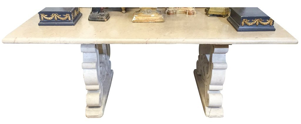 Antique French Table, Heavy Antique Marble Top