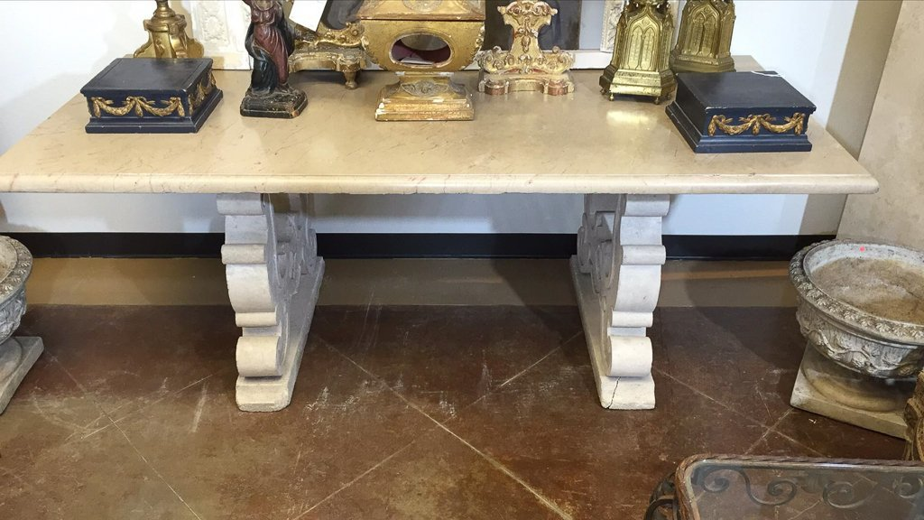 Antique French Table, Heavy Antique Marble Top - 2