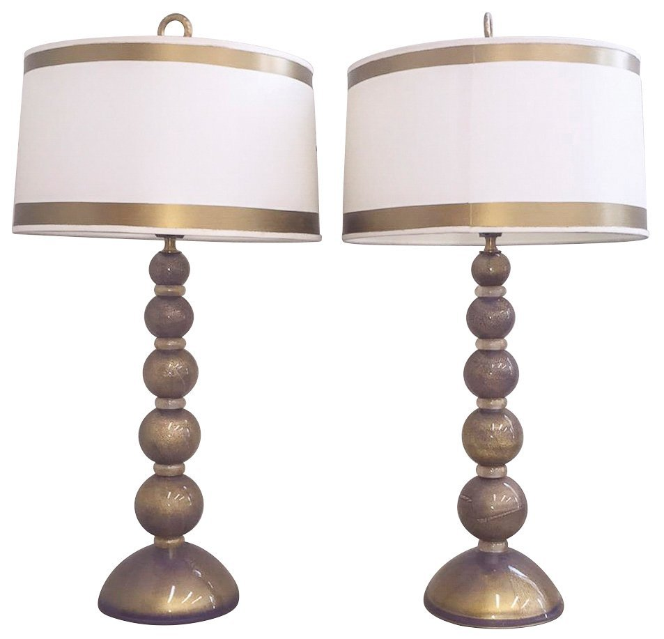 Fabulous Pair Of Murano Lamps, C.1970,