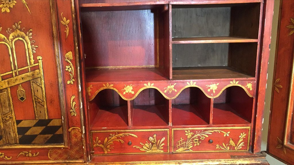 Fine Chinoisreie  Red Lacquered Bureau Bookcase - 5