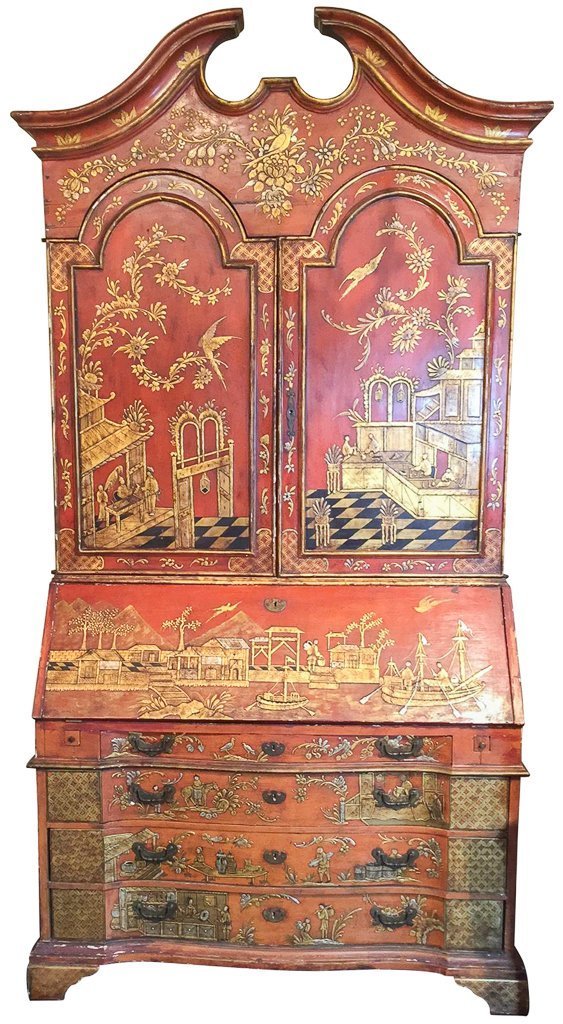 Fine Chinoisreie  Red Lacquered Bureau Bookcase