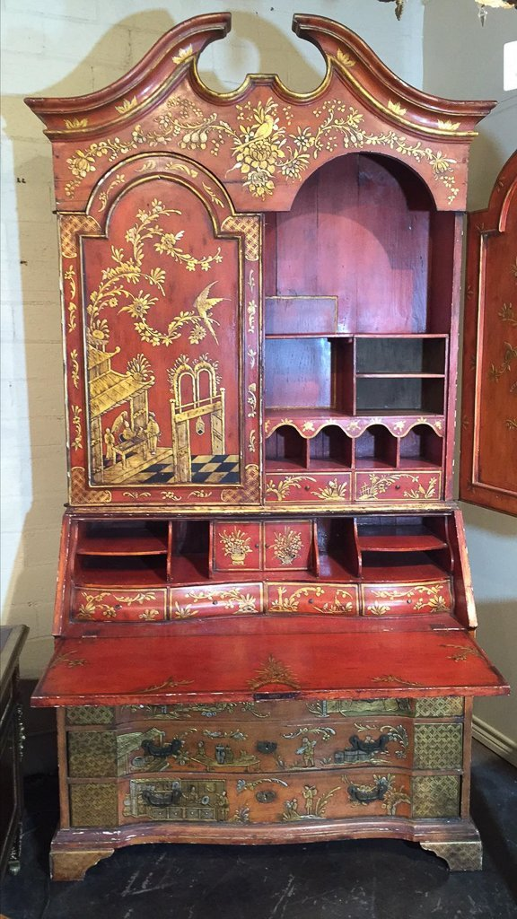 Fine Chinoisreie  Red Lacquered Bureau Bookcase - 3