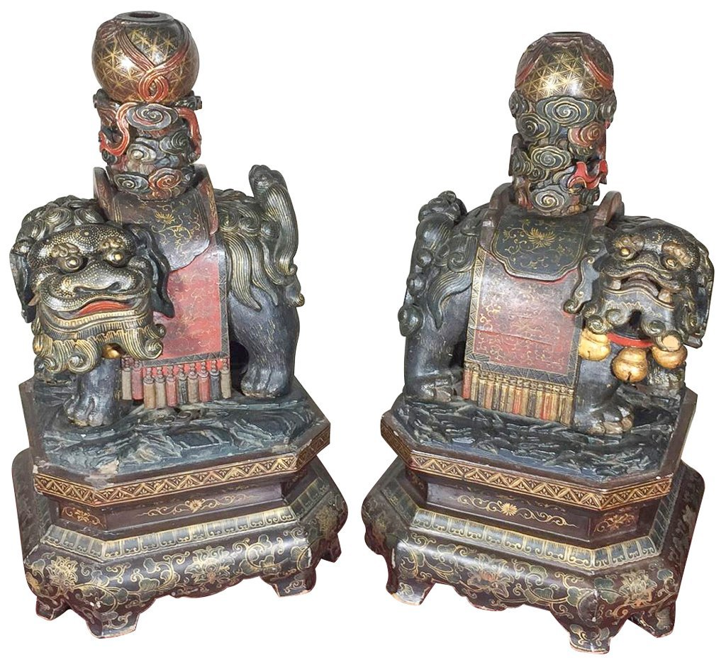 Great Antique Pair Chinese Temple Dogs, Carved