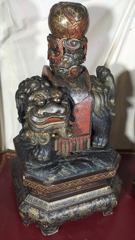 Great Antique Pair Chinese Temple Dogs, Carved - 2