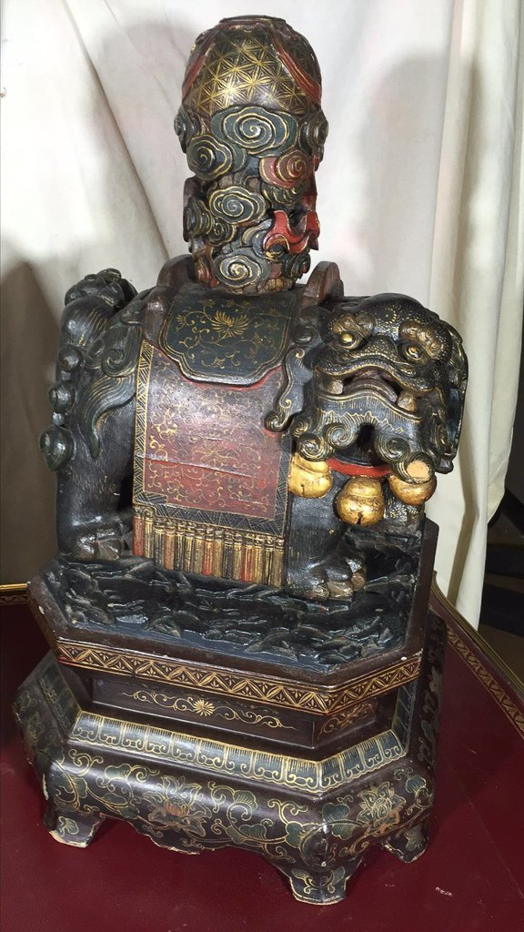 Great Antique Pair Chinese Temple Dogs, Carved - 3