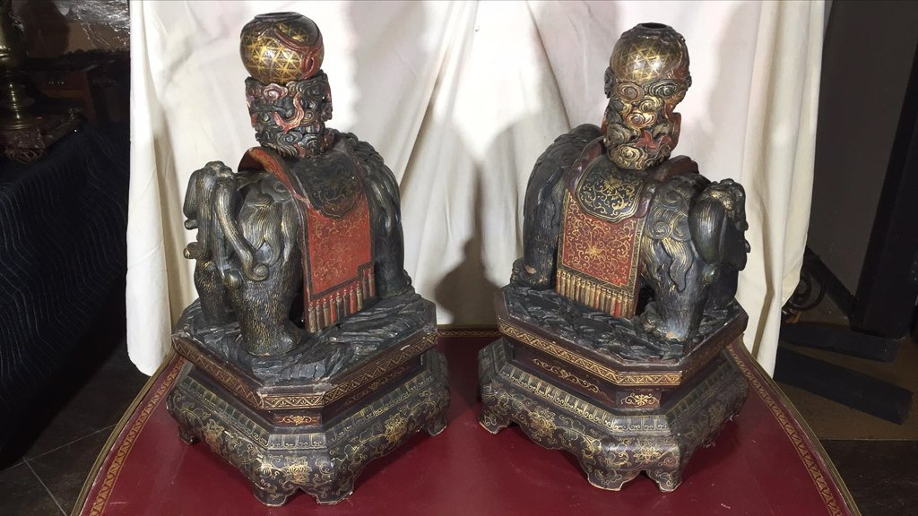 Great Antique Pair Chinese Temple Dogs, Carved - 4