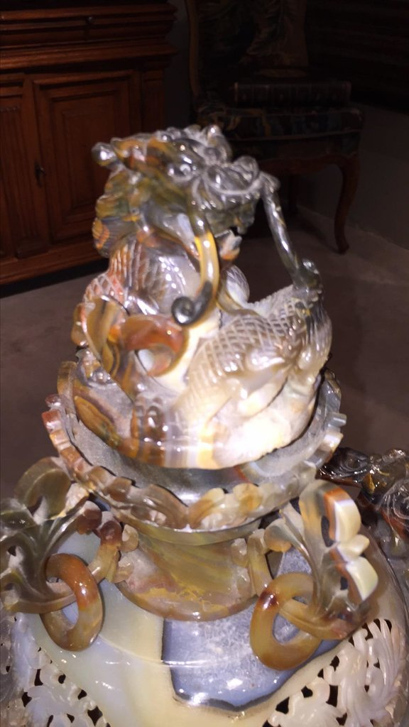 Large Chinese Agate Censor With Dragons - 2