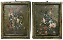 Pair Of 18th C Italian Oil On Canvas Still Life