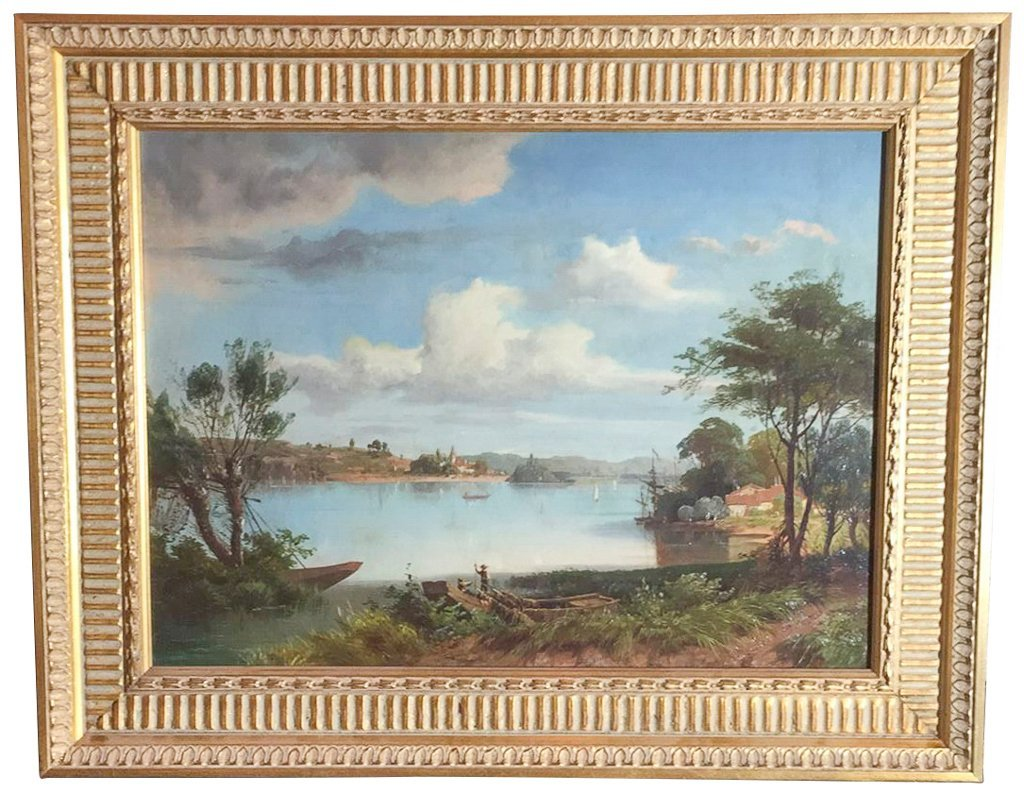 """Fine English Oil On Canvas,""""on The Banks Of A"""