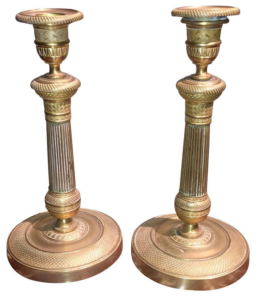Pair Of 19th C. English Brass Candlesticks