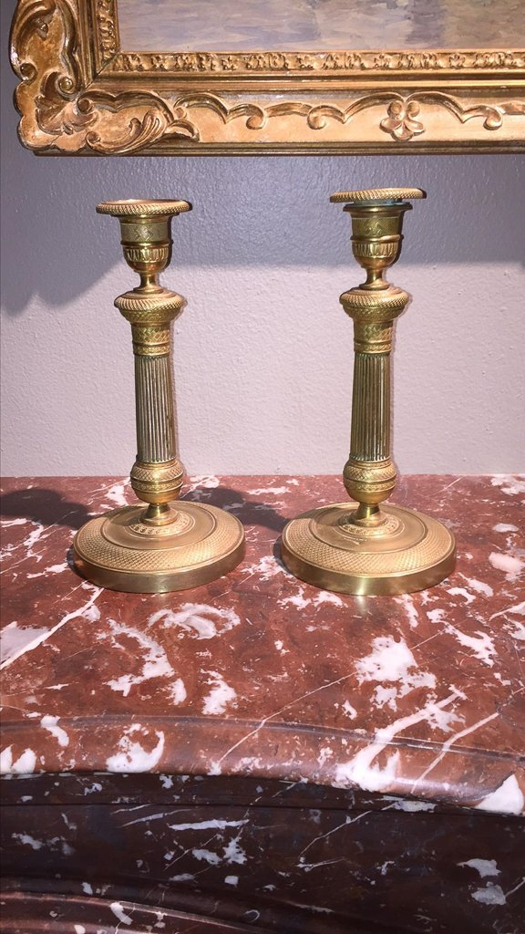 Pair Of 19th C. English Brass Candlesticks - 2