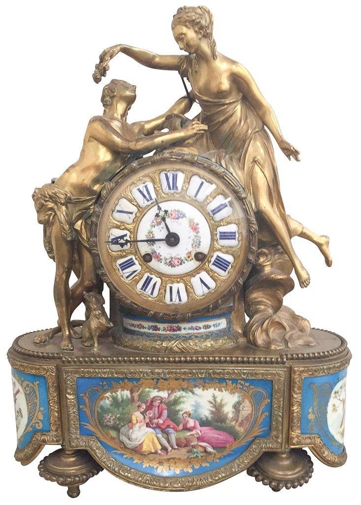 19th Century French Napoleon Iii Bronze Clock,