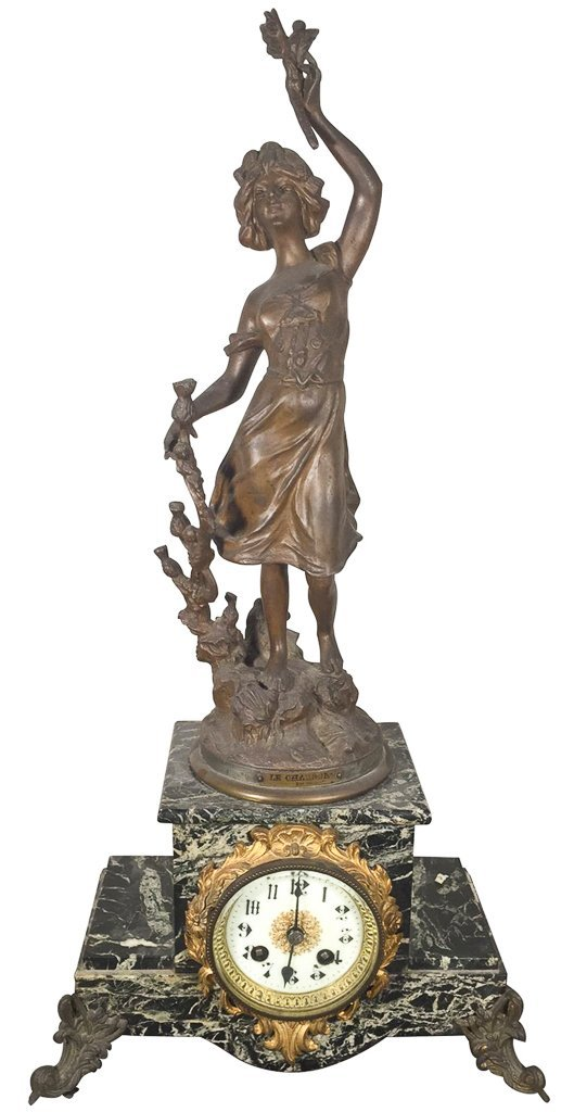French Spelter Clock, Young Girl, Set On