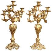 Pair Of 19th C. French Dore' Bronze Candelabra