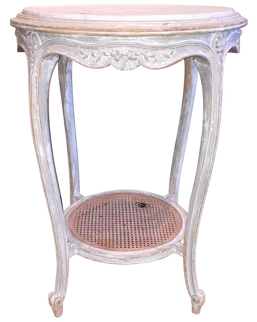 French Louis Xvi Carved & Painted Side Table