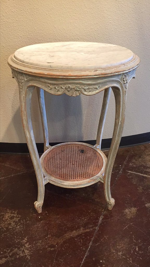 French Louis Xvi Carved & Painted Side Table - 2