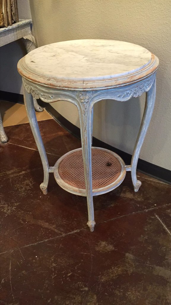 French Louis Xvi Carved & Painted Side Table - 5