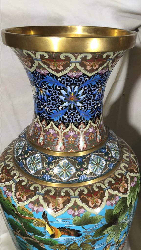 Superb Pr. Chinese Cloisoine Vases, Palace Size - 3