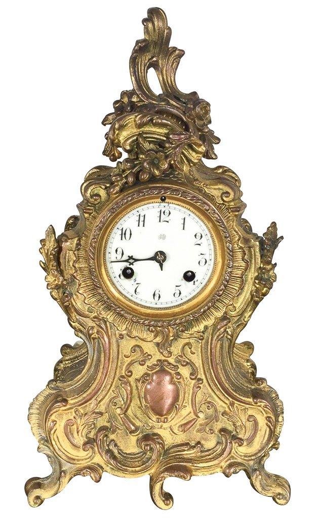 American Waterbury Mantle Clock, Gold Washed