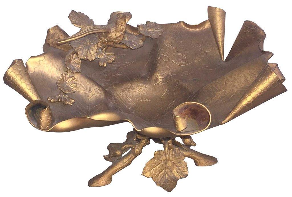 French Art Nouveau Bronze Footed Centerpiece,