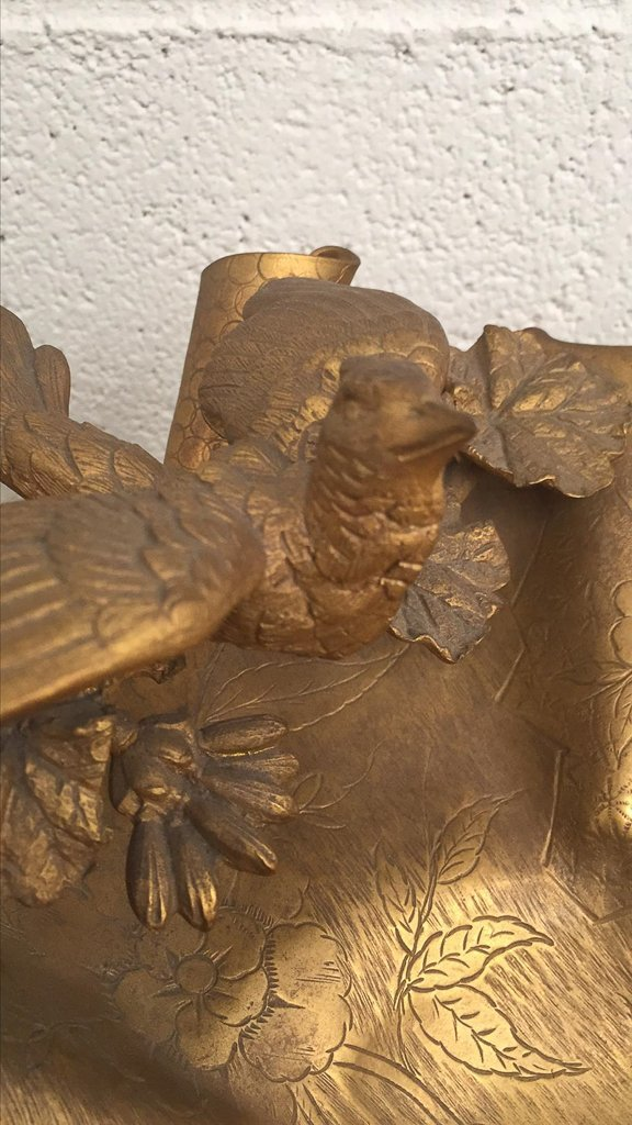 French Art Nouveau Bronze Footed Centerpiece, - 6
