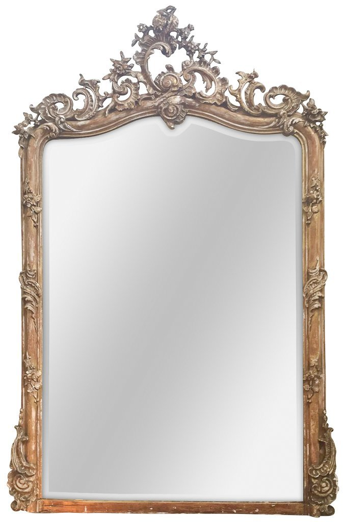 19 C French Napoleon Iii Mirror, Nice Faded