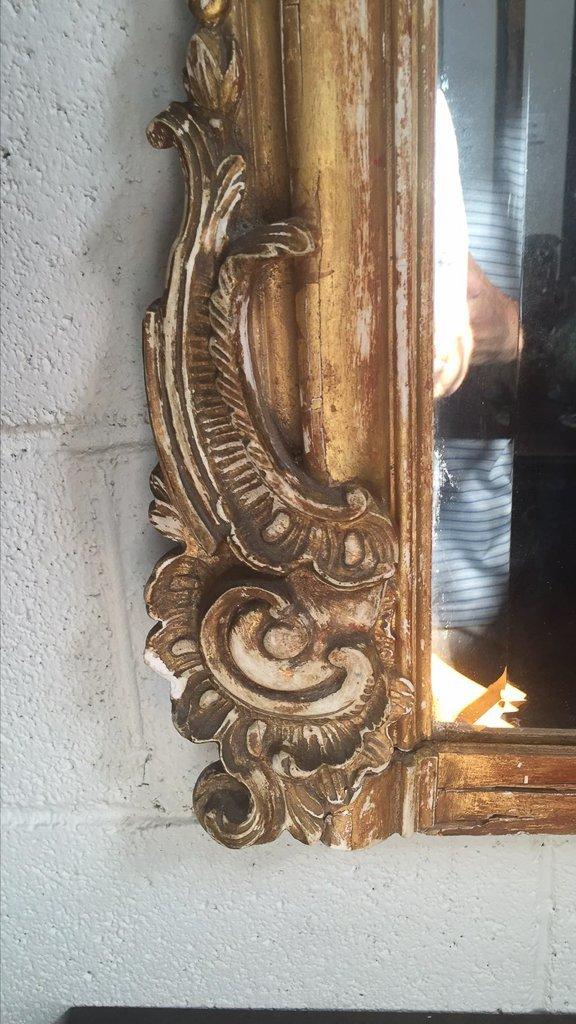 19 C French Napoleon Iii Mirror, Nice Faded - 2