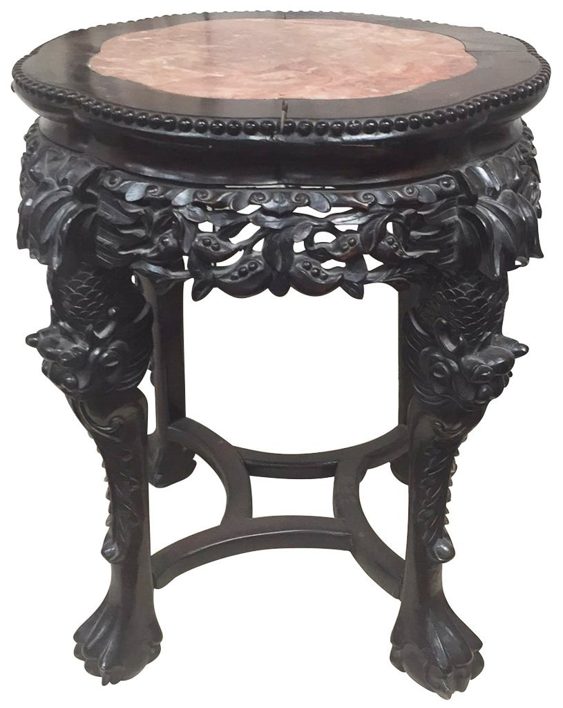 Oriental Rosewood Marble Top Plant Stand, Nice