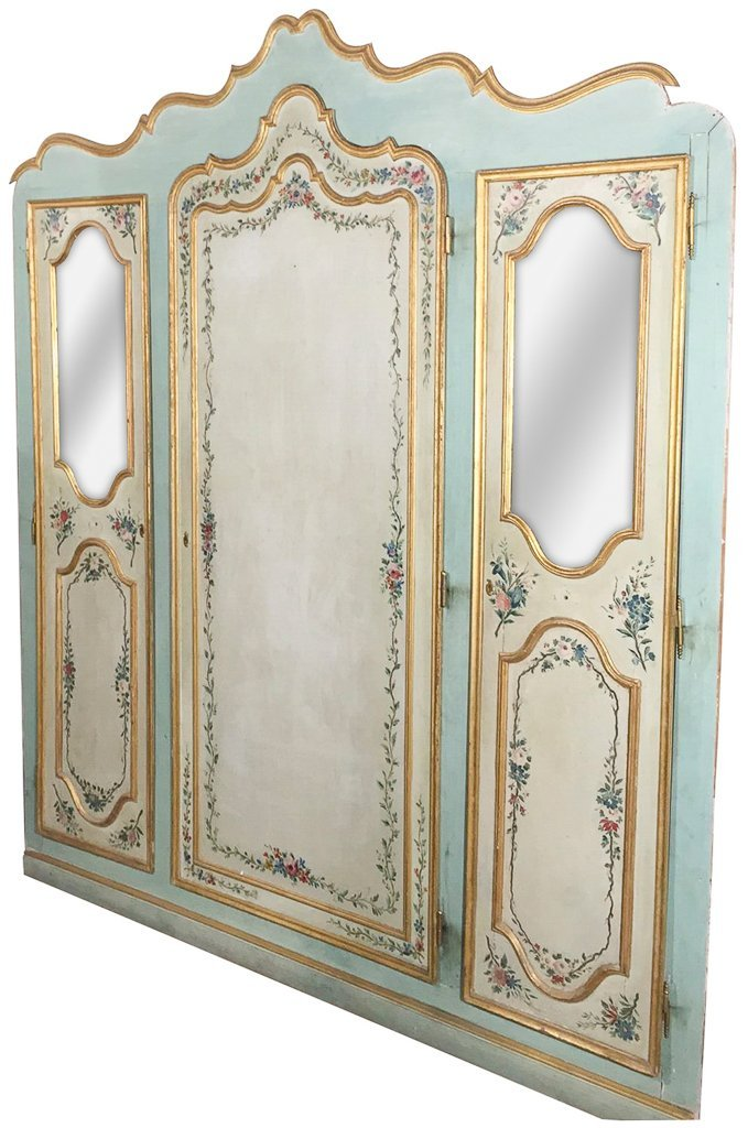 Large Italian Venetian Painted Cabinet Front,