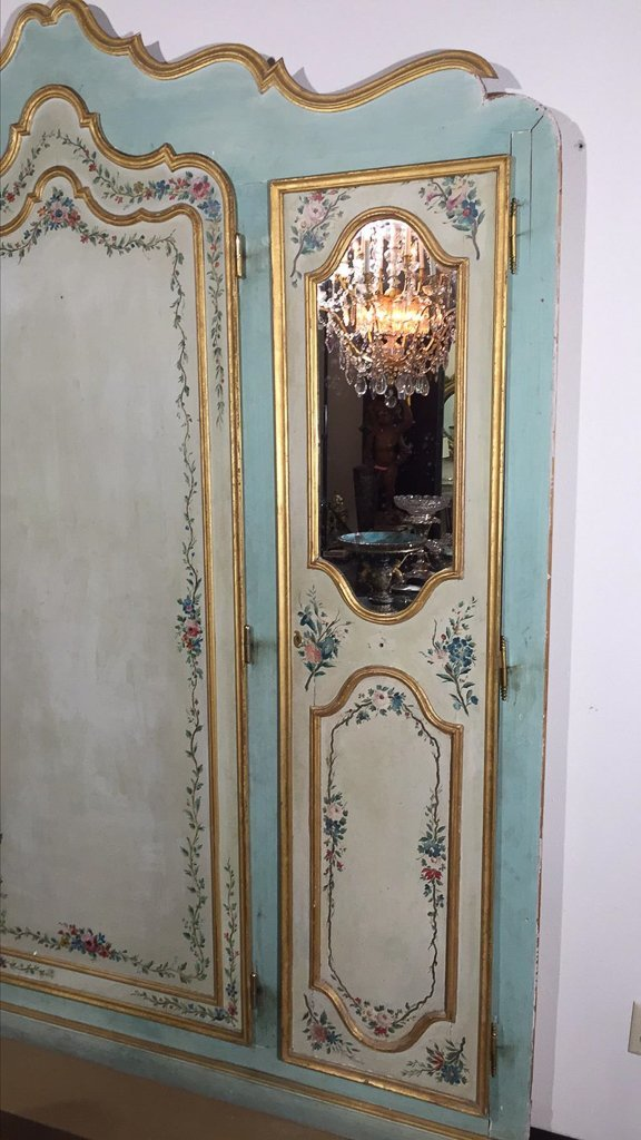 Large Italian Venetian Painted Cabinet Front, - 2