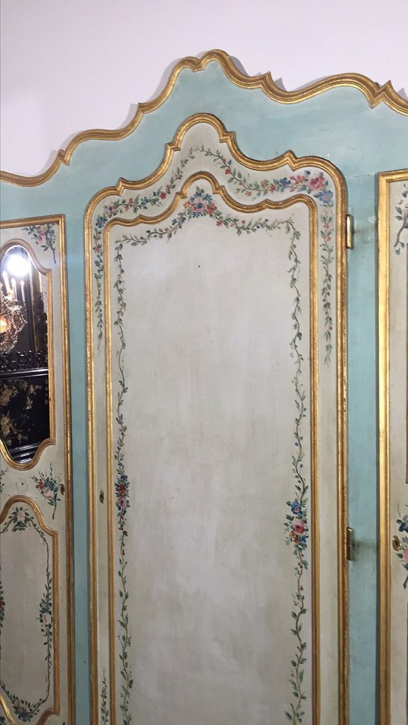 Large Italian Venetian Painted Cabinet Front, - 3