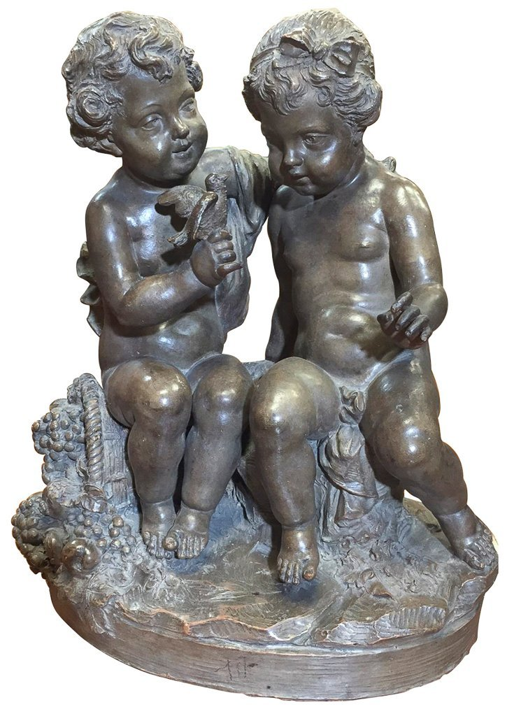 French Terra-cotta Sculpture 2 Cherubs