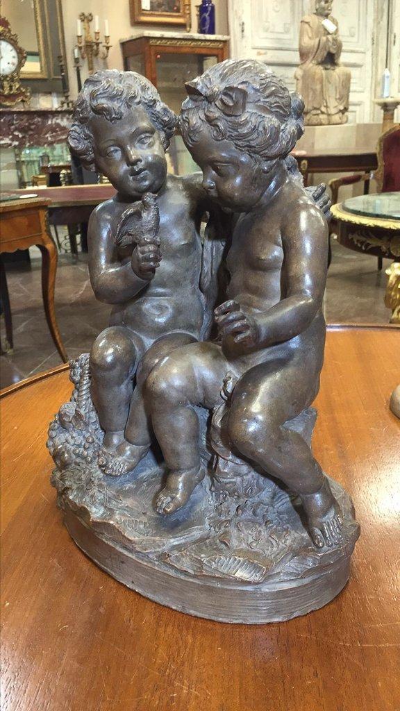 French Terra-cotta Sculpture 2 Cherubs - 2