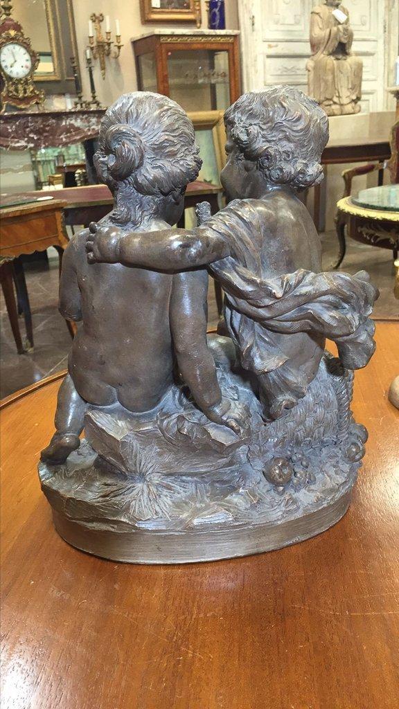 French Terra-cotta Sculpture 2 Cherubs - 3
