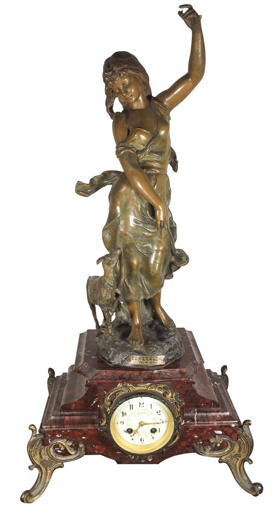 French Spelter Mantle Clock, With Patinated