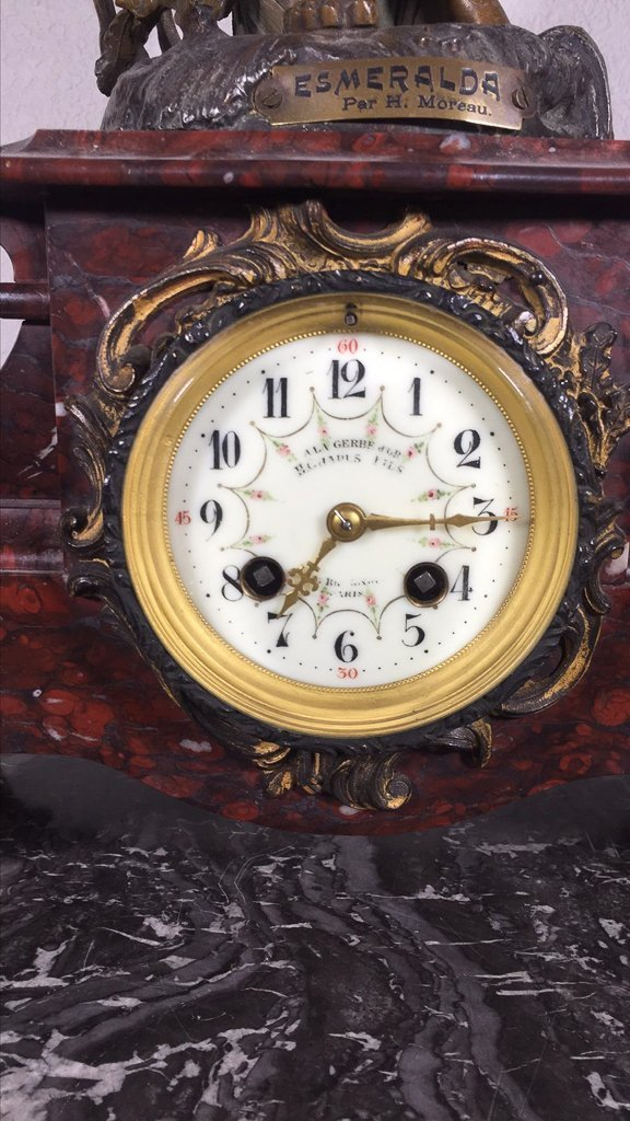French Spelter Mantle Clock, With Patinated - 2