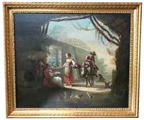 18th Century French Oil Painting Village Scene