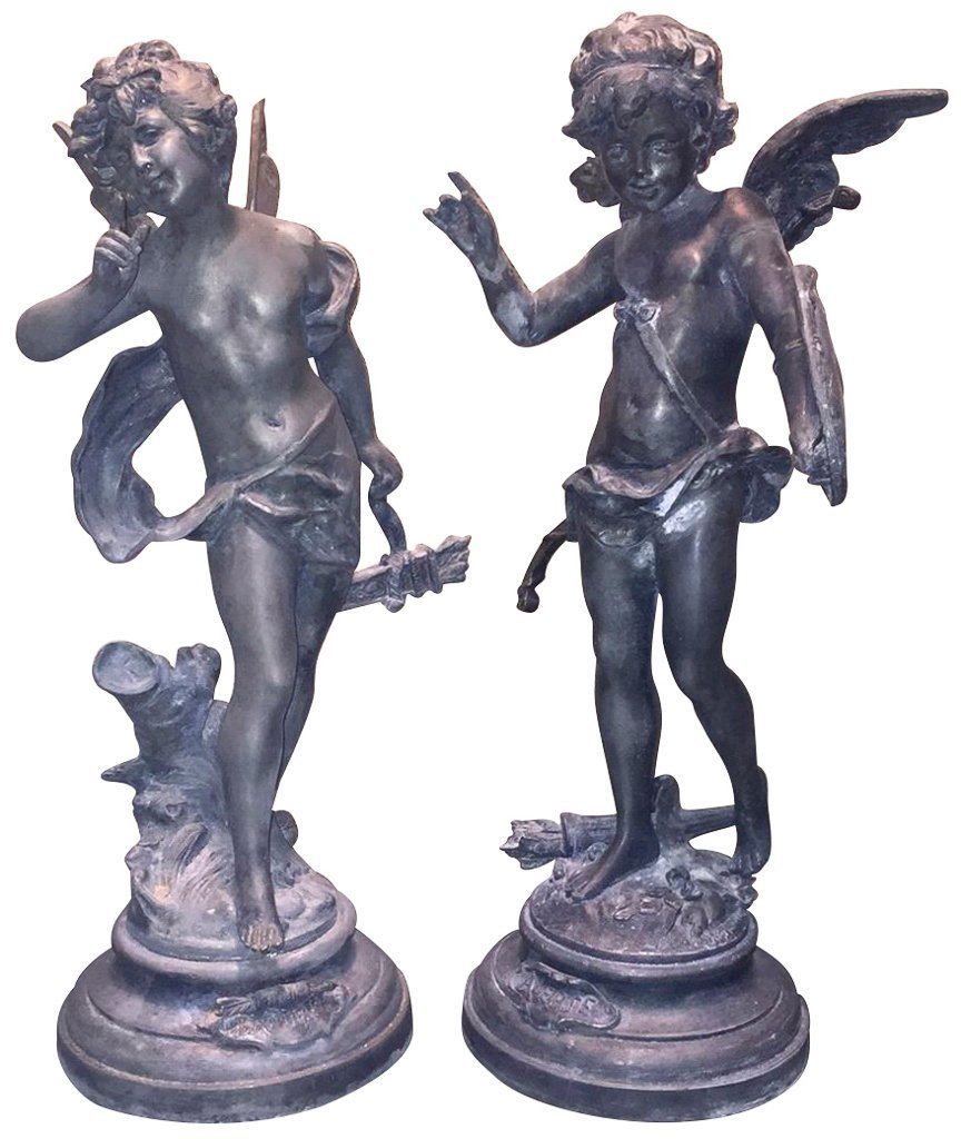 Pr Early 20th C. French Zinc Classical Figures,