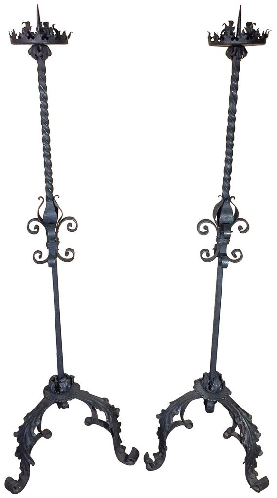 Pr Of Spanish Forged Iron Entrance Candlesticks